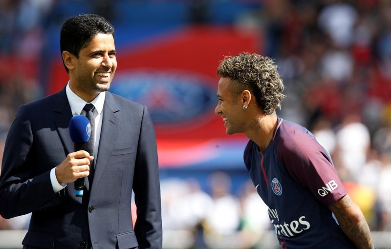Soccer Football - Paris St Germain vs Amiens SC - Ligue 1 - Paris, France - August 5, 2017   PSG chairman Nasser Al-Khelaifi with Neymar during the presentation   REUTERS/Christian Hartmann
