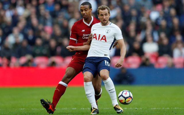 """Soccer Football - Premier League - Tottenham Hotspur vs Liverpool - Wembley Stadium, London, Britain - October 22, 2017   Tottenham's Harry Kane in action with Liverpool's Joel Matip    Action Images via Reuters/Matthew Childs    EDITORIAL USE ONLY. No use with unauthorized audio, video, data, fixture lists, club/league logos or """"live"""" services. Online in-match use limited to 75 images, no video emulation. No use in betting, games or single club/league/player publications. Please contact your account representative for further details."""
